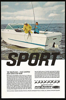 Fishing Photo Ad MerCruiser Sport Stern Drive Mercury Outboard Motor Boat 1966