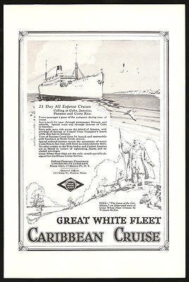 Caribbean Cruise Great White Fleet Cuba Jamaica Panama Costa Rica 1929 Print Ad - Paperink Graphics