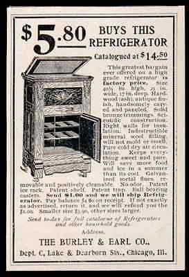 Ice Box Ash Hardwood Panels Bronze Trim 1899 Print AD