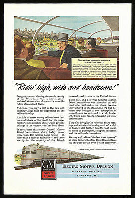 Burlington Zephyr Ad 1948 Glass Observation Dome GM Diesel Power
