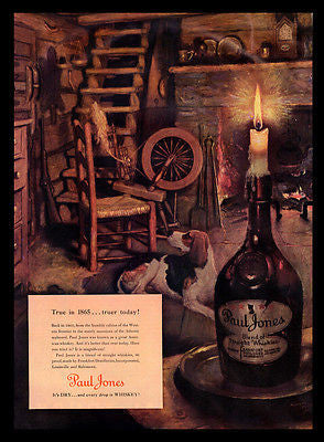 Whiskey Paul Jones AD 1940s Beagle Dog Norman Price Art AD Kentucky Distillery - Paperink Graphics