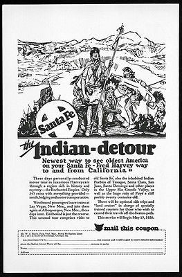 Indian Detour1926 Fred Harvey Enchanted Empire Motor Tour Santa Fe Railway Ad - Paperink Graphics