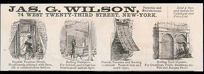Jas. G. Wilson Venetian Blinds 1893 Home Decorating Ad New York