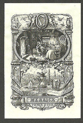 1908 Antique Bookplate William F. Hopson Artist ex libris Decorative Graphic Art - Paperink Graphics