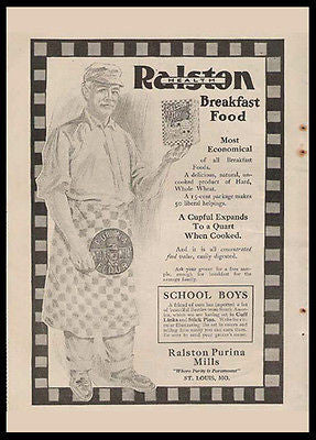 Ralston Purina Flour Checkerboard Man 1909 Kitchen Ad - Paperink Graphics