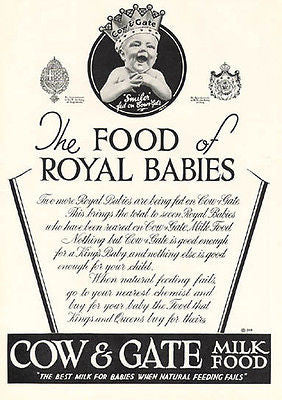 BABY Crowned Cow & Gate Milk Food 1937 Photo AD