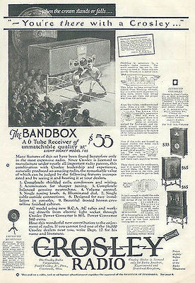 Crosley Radio Bandbox 6 Tube Receiver 1927 Antique Radio AD Boxing Match Graphics