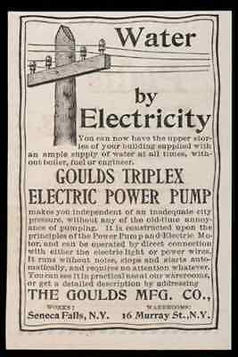Electric Pump Ad 1893 Power Goulds Manufacturing Seneca Falls NY Triplex Water
