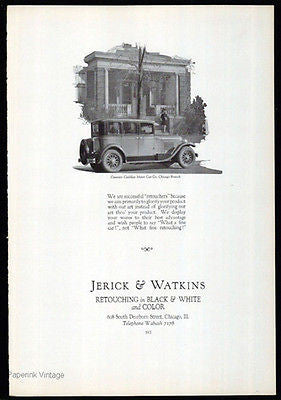 Auto Body Painting 1926 AD Jerick & Watkins Art Retouching Graphic Arts Chicago