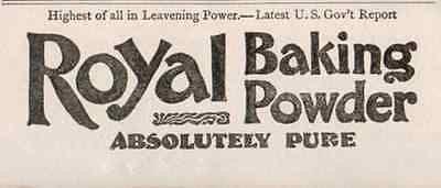 Royal Baking Powder Absolutely Pure 1895 Food Bakery Baking AD - Paperink Graphics