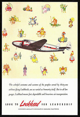 Lockheed Aircraft 31 Airlines Worldwide Aviation 1940 Costumes Print Ad - Paperink Graphics