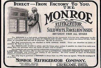Monroe Antique Refrigerator AD White Porcelain Oak Fridge 1904 Kitchen Appliance