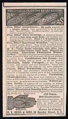Bliss PEAS 3 Varieties Abundance Everbearing 1884 AD