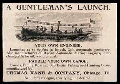 Boat Steam Launch up to Sixty Feet Oil Wood Coal Thomas Kane Co Chicago 1893 AD