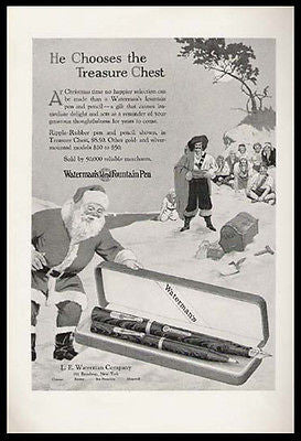 Santa Claus Waterman Ripple Rubber Pen 1928 Pirates Ad
