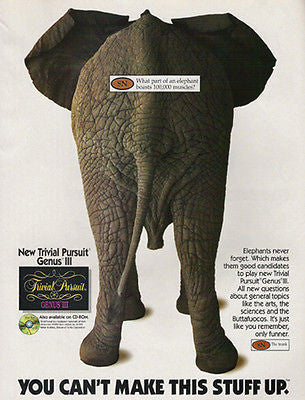 Elephant Tail End View 100,000 Muscles Photo 1995 AD Trivial Pursuit Genus III