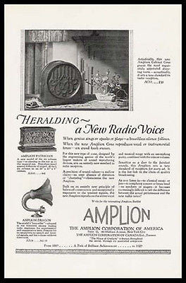 Amplion Radio Cabinet Cone Dragon Speaker 1926 Photo Ad