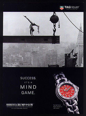 Gymnastics Mile High NYC Steel Girder 1997 Photo Ad TAG Heuer Watch