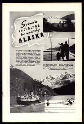 Alaska 1941 Travel Tourism Ad Mount McKinley Train Steamer Alaska Steamship Co. - Paperink Graphics