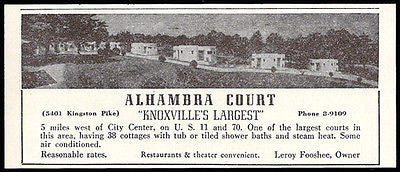 Alhambra Court Ad Knoxville Tennessee 38 Cottages 1953 Roadside Photo Ad Travel