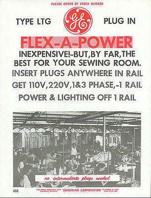 Factory Sewing Room Women Work Industrial Machines 1967 Catalog Ad GE Plugs - Paperink Graphics