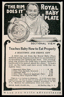 Baby Plate AD 1907 Teaches Baby How to Eat Properly Royal Baby Plate
