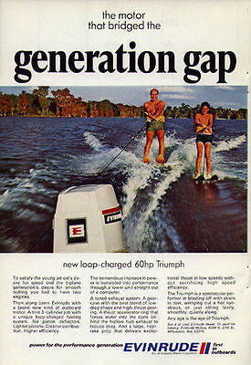 Waterskiing Evinrude Motor 1970 Boating Water Sports AD