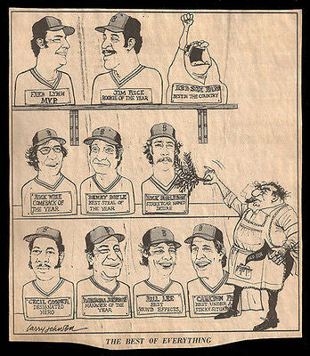 Red Sox Star Players Year Best Sports Cartoon Newspaper Clipping