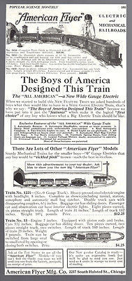 American Flyer Toy Train AD 1925 Advertisement Railroad Trains Advertising
