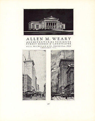 Allen M. Weary Artist Architecture Art Drawing 1926 Ad - Paperink Graphics