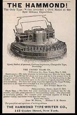 Typewriter Hammond Type-Writer Early Typing 1886 Small AD