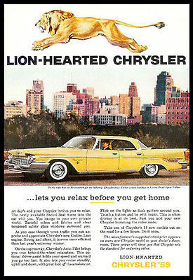 Chrysler New Yorker Lustre Bond Spun Yellow 1959 Photo Ad Golden Lion