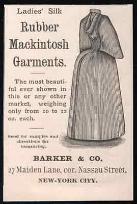 1890 Rubber Silk Mackintosh Garment AD Barker & Co. NYC - Paperink Graphics