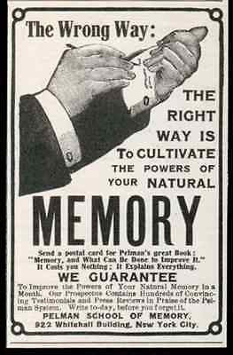 Pelman System 1905 AD Memory Natural Power Pelman School of Memory NYC