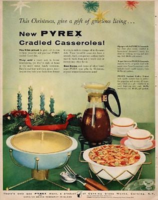 Pyrex Cradled Casseroles Coffee Maker 1956 AD Mid Century Glass