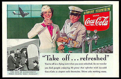 American Airline Stewardess Captain 1938 COKE Airport Fountain Ad Coca-Cola - Paperink Graphics