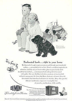 Dumont TV Ad 1950s Norman Rockwell Advertising Art Toys Cocker Spaniel Dog - Paperink Graphics