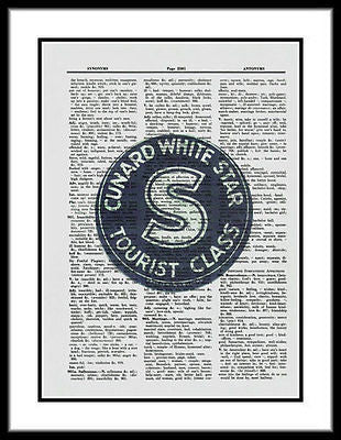 Cunard White Star Luggage Label Dictionary Art Print Ocean Liner  fun030 - Paperink Graphics