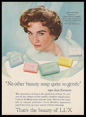 Jean Simmons Movie Star Lux Soap 1959 Photo Ad Beauty Health