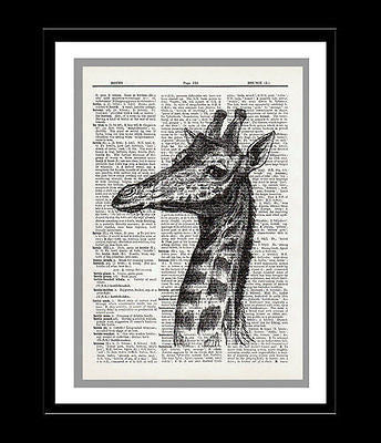 Giraffe Dictionary Art Print Animal Wildlife Face Neck animal007 - Paperink Graphics