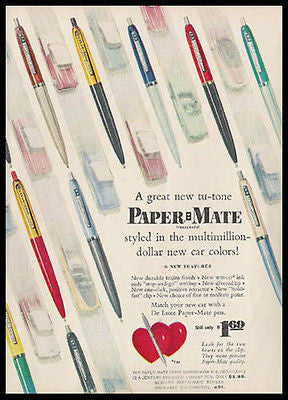 Paper Mate Pen Tu Tone New Car Colors 1955 Photo Ad Writing Instrument