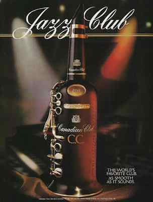 Jazz Club Canadian Club 1994 Ad Distillery Musical Instrument Bottle Graphic Art