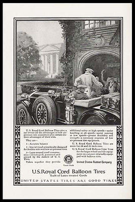 Golf Party Roadster 1924 Wilson Print Ad US Royal Cord Balloon Tires