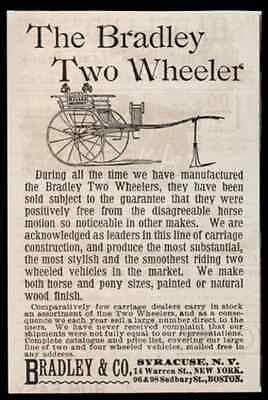 Horse Carriage Bradley Two Wheeler 1893 Ad Syracuse NY - Paperink Graphics