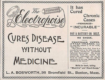 Quack Electropoise Instrument Cures Disease No Medicine 1895 Boston AD
