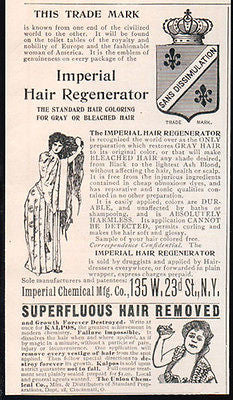 Imperial Hair Regenerator  Kalpos Hair Remover 1901 Two ADS - Paperink Graphics