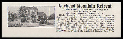 Gayhead 1915 Catskills Gayhead Mt Retreat NY German Cooking Hotel Photo AD - Paperink Graphics