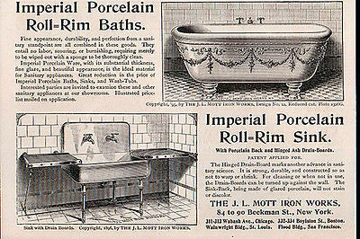 Roll Rim Bath Sink Porcelain Mott Iron NY 1897 Print AD