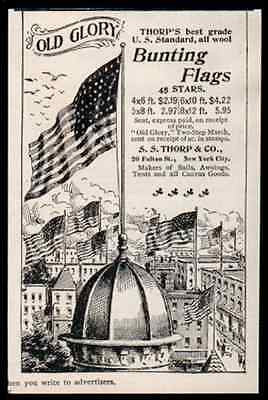 Flag 45 Stars Old Glory Bunting 1896 Antique Ad Patriotic S.S. Thorpe NYC
