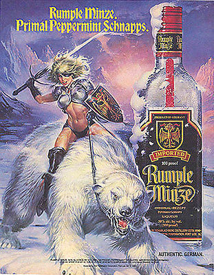 Amazon Warrior Riding Polar Bear 1990 Rumple Minze Distillery Liquor Ad